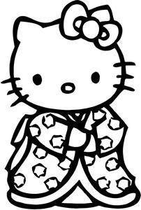 Hello Kitty Geisha Die Cut Vinyl Sticker Decal