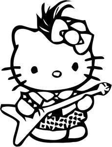 Hello Kitty Guitarist Die Cut Vinyl Sticker Decal