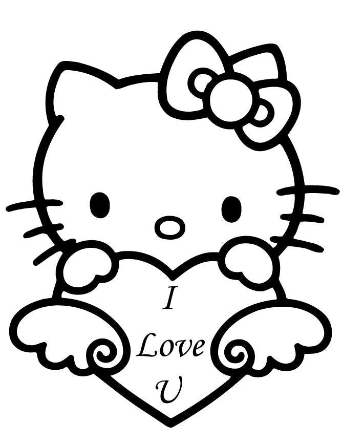 Hello Kitty Heart I Love You Die Cut Vinyl Sticker Decal