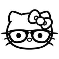 Hello Kitty Hipster Glasses Die Cut Vinyl Sticker Decal
