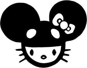 Hello Kitty Mickey Mouse Die Cut Vinyl Sticker Decal
