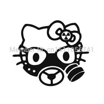 Hello Kitty Radioactive Gas Mask Die Cut Vinyl Sticker Decal