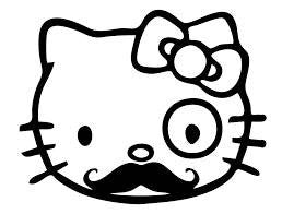 Hello Kitty Sir Moustache Monocle Die Cut Vinyl Sticker Decal