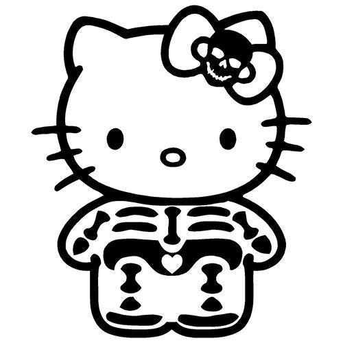 Hello Kitty Skeleton With Skull Ribbon Die Cut Vinyl Sticker Decal