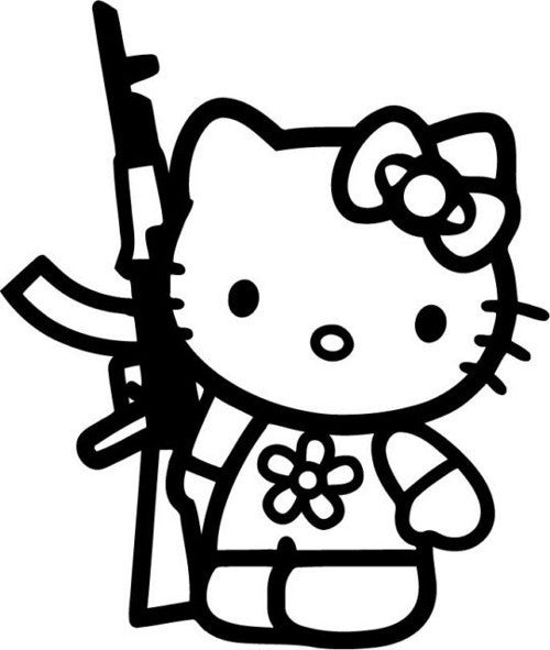 Hello Kitty AK-47 - Die Cut Vinyl Sticker Decal