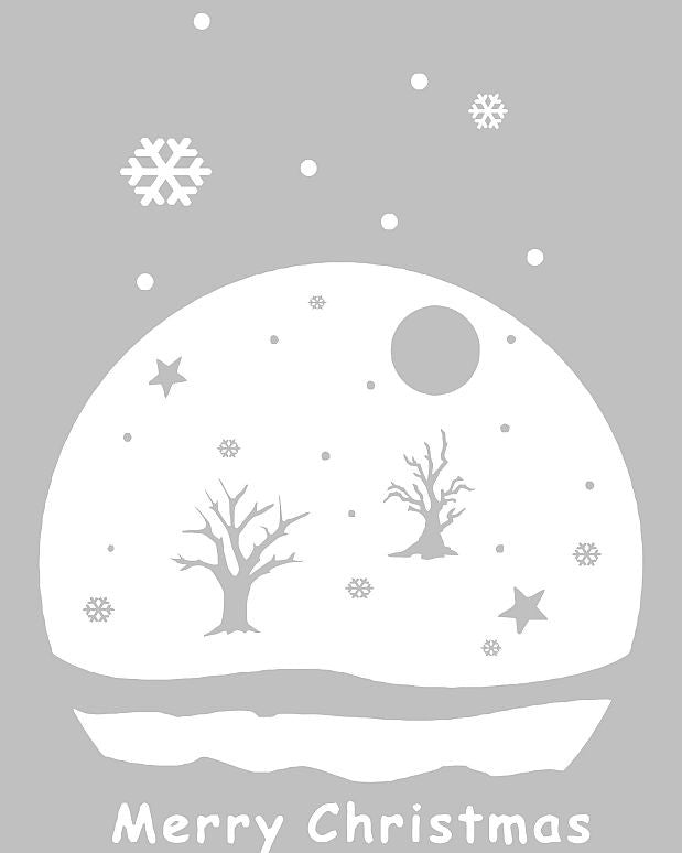 Merry Christmas Snowy Landscape | Die Cut Vinyl Sticker Decal