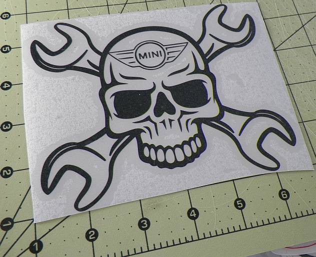 Mini Cooper Skull Wrench | Die Cut Vinyl Sticker Decal | Sticky Addiction