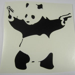 Banksy Shooting Panda | Die Cut Vinyl Sticker Decal | Sticky Addiction