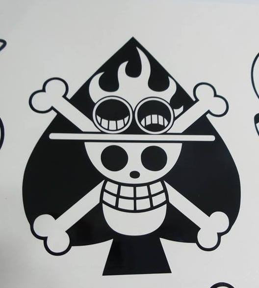 One piece anime ace of spades jolly roger pirate flag die cut vinyl sticker decal