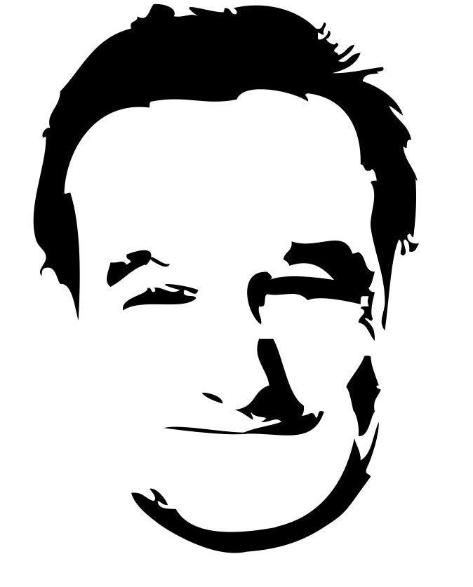 Robin Williams Portrait | Die Cut Vinyl Sticker Decal | Sticky Addiction