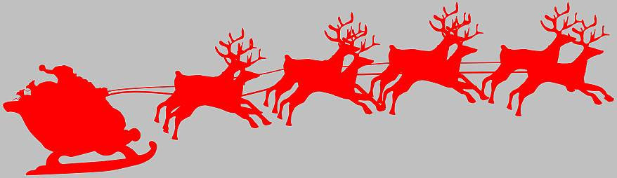 Santa Sleigh Christmas Reindeers | Die Cut Vinyl Sticker Decal | Sticky Addiction