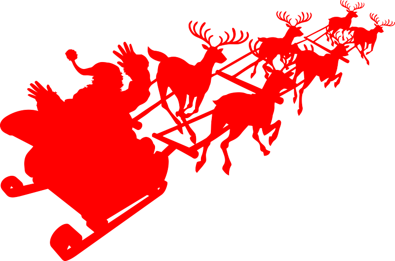 Santa No Hands Sleigh Driving Christmas Reindeers | Die Cut Vinyl Sticker Decal