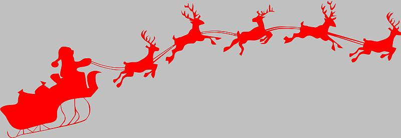 Santa Sleigh Christmas 5 Reindeers | Die Cut Vinyl Sticker Decal | Sticky Addiction