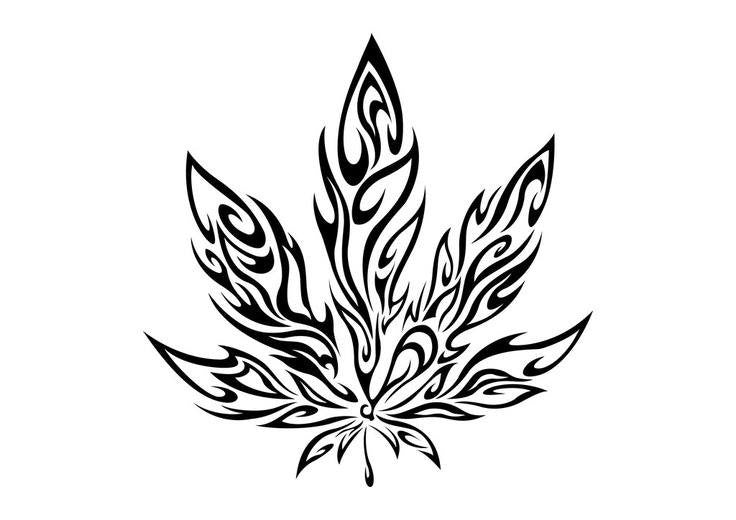 Tribal Weed Leaf  |  Die Cut Vinyl Sticker Decal | Sticky Addiction