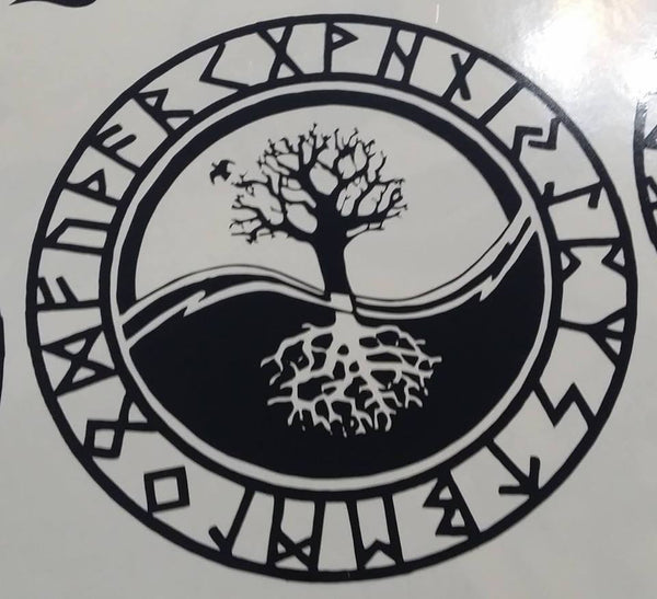 Viking Rune Tree Of Life Amulet Die Cut Vinyl Sticker