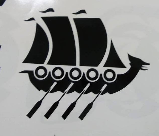 Viking Ship With Shields Paddles Nose Ornament | Die Cut Vinyl Sticker Decal