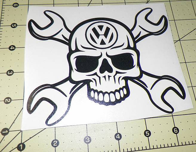 Volkswagen vw skull wrench die cut vinyl sticker decal sticky addiction