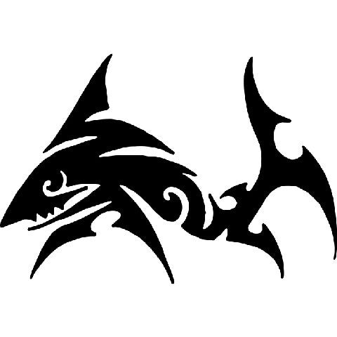 Tribal Shark  |  Die Cut Vinyl Sticker Decal | Sticky Addiction