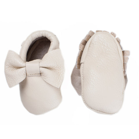 Baby Moccasins with Bow - Banana Split (beige color)