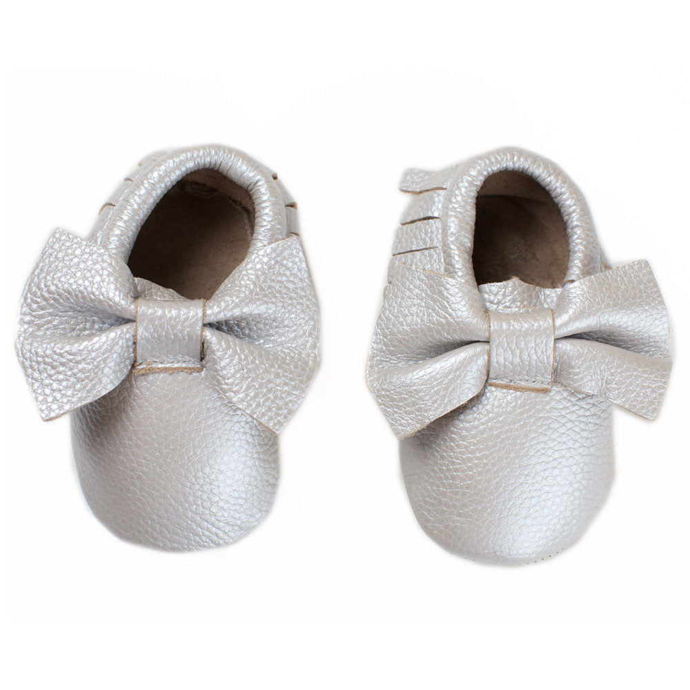 Baby Moccasin with Bow - Crystal