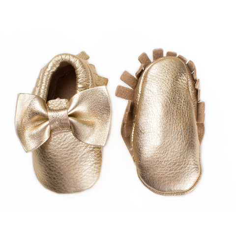 Baby Moccasin with Bow - Metallic Gold