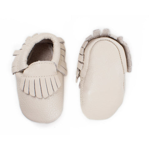 Baby Moccasins with Fringe - Banana Cream (beige color)