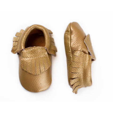 Baby Moccasin with Fringe - Canary Gold