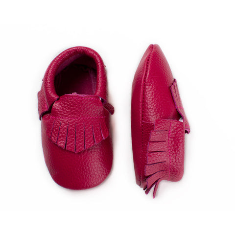 Baby Moccasin with Fringe - Mulberry Pink