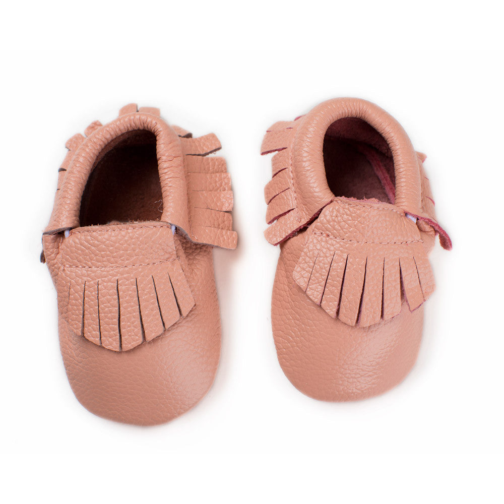 Baby Moccasin with Fringe - Cotton Candy Pink