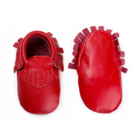 Baby Moccasin with Fringe - Strawberry Red