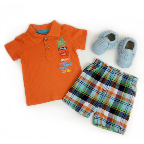3-Piece Set Shirt, Shorts & Baby Moccasins