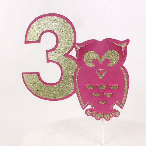 Number cake topper with owl