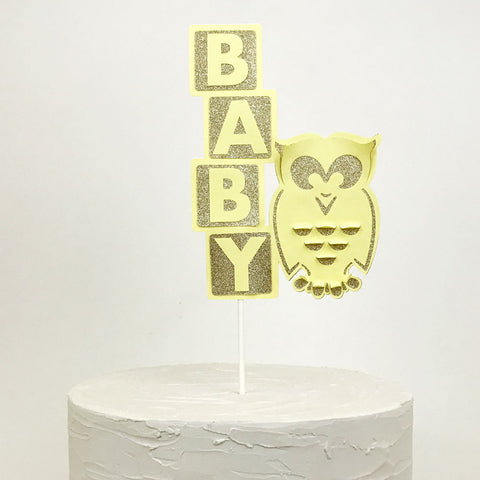 Baby cake topper with owl
