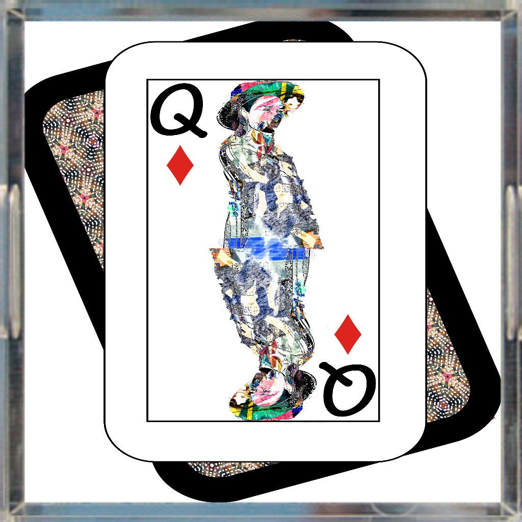 Play Your Hand...Queen Diamond No. 4 Acrylic Tray