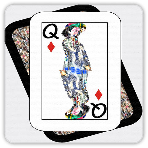 Play Your Hand...Queen Diamond No. 4  Coaster Set