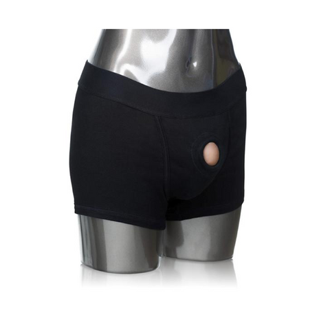 Silver mannequin with black boxers