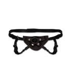 Black strapped harness with comfort panel under the o-ring