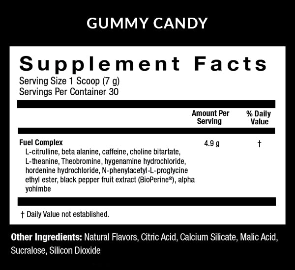 Fuel Gummy Candy Supplment Facts