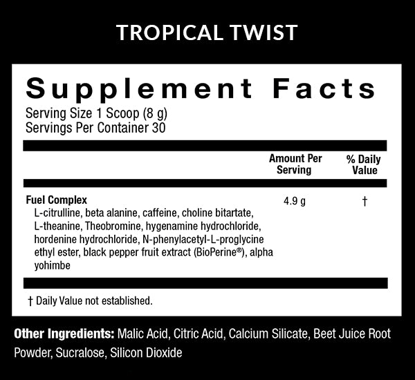 Fuel Tropical Twist Supplment Facts