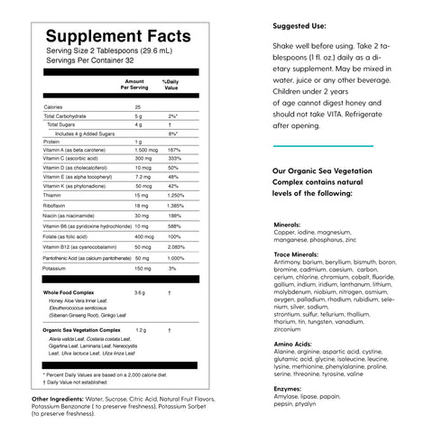 VITA liquid vitamins and minerals supplement facts by FLYTE