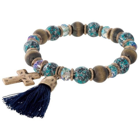 Blue Beaded Cross and Tassel Bracelet