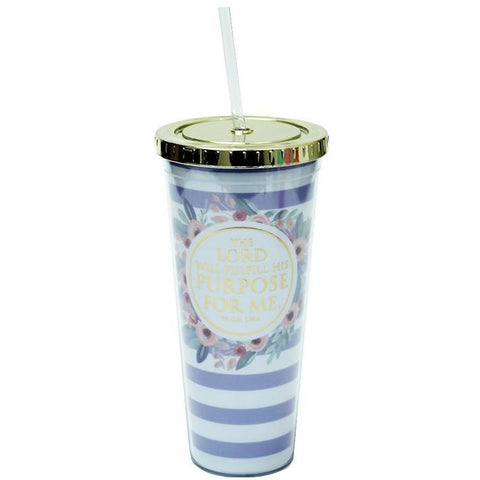 Purple Stripe Psalm 138:8 Tumbler