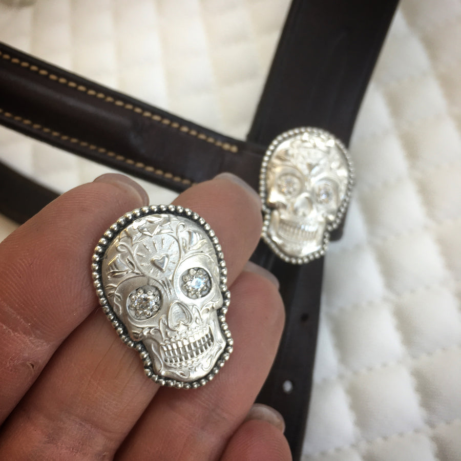 Sugar Skull Bridle Buttons