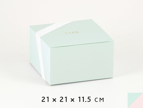Personalized gift boxes, personalised favour boxes, luxury gift boxes, square – French Green & Powder Pink