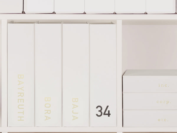 Home office design inspiration, personalised box files, monogrammed file boxes