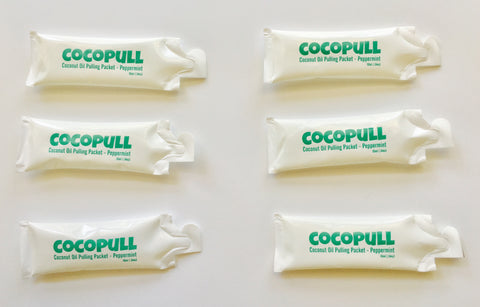 cocopull oil pulling comes in single packets or in bottles of 4 and 8oz. Contains organic peppermint oil for a fresh taste.