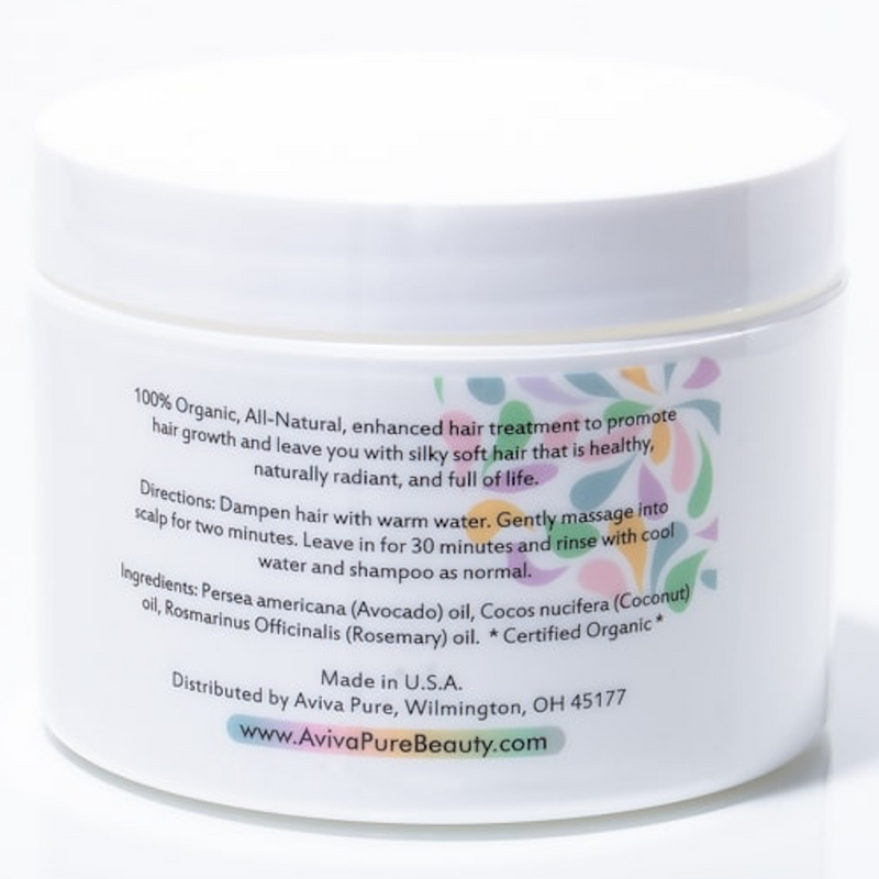Coconut Avocado oil Organic hairmask for dry, damaged hair with proven results from Aviva Pure
