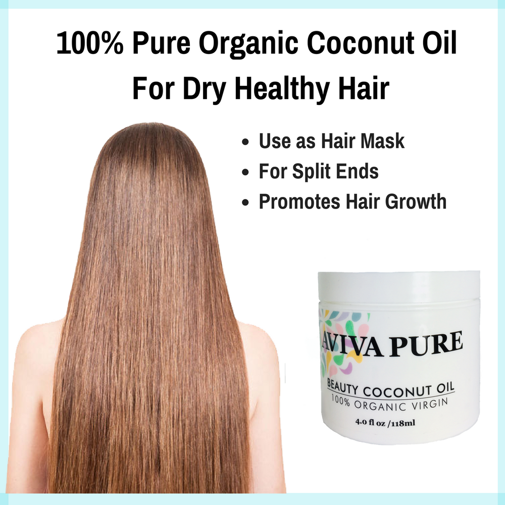 aviva pure organic coconut oil for skin, coco oil face, hair and body