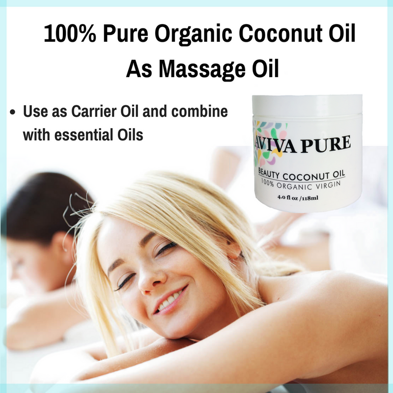 organic coconut oil aviva pure - perfect coconut massage oil, hydrates moisturizes skin