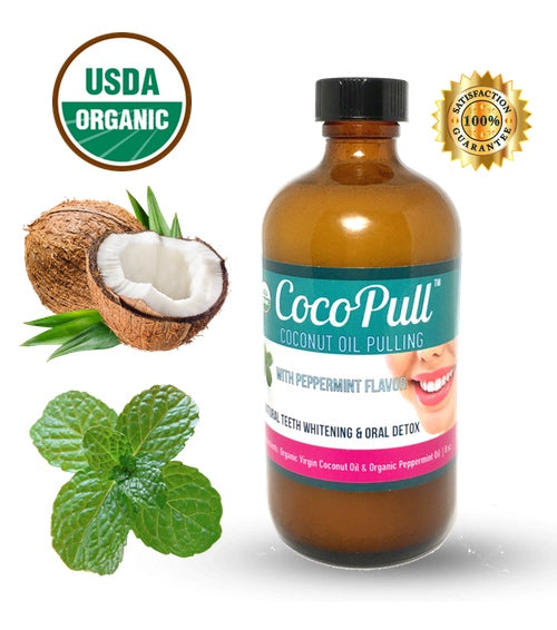 Cocopull Oil pulling 8oz Bottle - natural teeth whitening in a bottle, peppermint flavor, vegan, usda organic